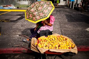 Two young girls selling apricots at the roadside shelter from the sun beneath an umbrella.